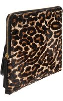 Lanvin Large Calf Hair Zip Clutch - Lyst