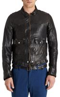 Golden Goose Deluxe Brand Distressed Leather Racer Jacket - Lyst