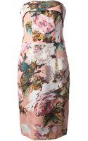 Dolce & Gabbana Strapless Floral Dress - Lyst