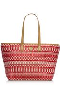 Tory Burch Small Stripe Straw Tote - Lyst