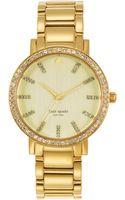 Kate Spade Ladies Goldtone Crystal Bracelet Watch - Lyst