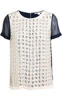 Diane Von Furstenberg Embellished Silk Top - Lyst