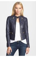 Michael by Michael Kors Racer Four Pocket Leather Jacket - Lyst