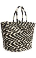 Sensi Studio Tribal Embroidered Straw Tote - Lyst