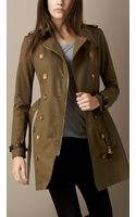 Burberry Midlength Leather Detail Trench Coat - Lyst