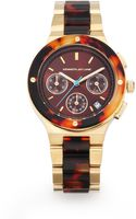 Kenneth Jay Lane Goldtone Ip Stainless Steel Tortoise Resin Link Watch - Lyst
