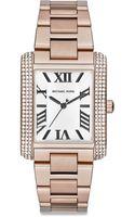 Michael Kors Emery Embellished Rose Goldtone Stainless Steel Rectangular Bracelet Watch - Lyst