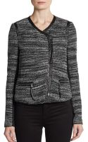 Rebecca Taylor Faux Leather Trimmed Boucle Jacket - Lyst