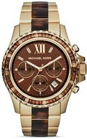 Michael Kors Midsize Tortoise and Gold Tone Everest Glitz Watch 415mm - Lyst