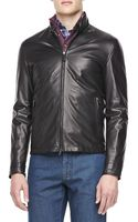 Ermenegildo Zegna Leather Moto Jacket Black - Lyst