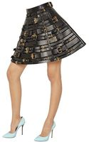 Fausto Puglisi Buckled Smooth Leather Skirt - Lyst