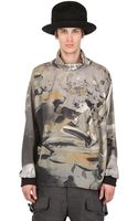 John Galliano Printed Wool Jersey Cowl Neck Top - Lyst