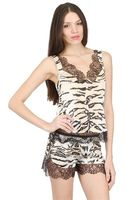 Roberto Cavalli Lace Tiger Printed Silk Satin Top - Lyst