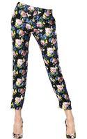 MSGM Floral Silk Twill Trousers - Lyst