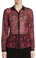 Lafayette 148 New York Silk Chiffon Print Blouse - Lyst