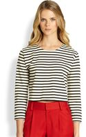 Alice + Olivia Striped Boxy Crop Top - Lyst