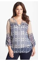 Lucky Brand Mixed Print Peasant Top - Lyst
