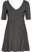River Island Black Polka Dot Jacquard Skater Dress - Lyst