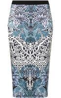 Topshop Textured Deco Tube Skirt - Lyst