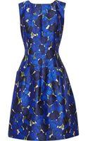 Oscar de la Renta Floral-print Silk and Wool-blend Dress - Lyst