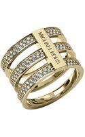 Michael Kors Triplestack Pave Ring Golden - Lyst