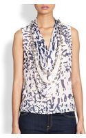 Diane Von Furstenberg Amya Printed Silk Embellished Cowlneck Top - Lyst