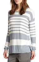 Vince Striped Cotton Slub Sweater - Lyst