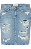 Current/Elliott The Stiletto Distressed Denim Pencil Skirt - Lyst