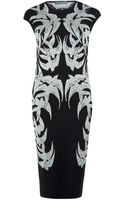 Alexander McQueen Black and White Bird Print Pencil Dress - Lyst