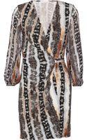 Diane Von Furstenberg Sigourney Printed Silk-jersey Mini Wrap Dress - Lyst