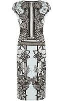 Roberto Cavalli Floral Print Cap Sleeve Dress - Lyst