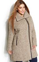 Calvin Klein Plus Size Asymmetrical Faux-leather-trim Wool-blend Coat - Lyst