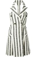 Kenzo Striped Double Breasted Dress - Lyst