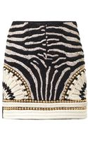 Balmain Embellished Suede Mini Skirt - Lyst