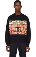 Juun.j Navy Society Print Sweatshirt - Lyst