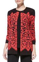 Misook Clssc Lace Print Long Jacket - Lyst