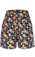 River Island Navy Floral Print Casual Shorts - Lyst