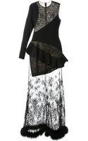 Alessandra Rich Lace Insert Ruffled Dress - Lyst