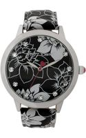 Betsey Johnson Womens Black and White Floralprinted Strap Watch 44mm 01 - Lyst