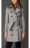 Burberry Wool Cashmere Trench Coat with Rabbit Topcollar - Lyst