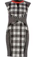 River Island Black Check Panel Cut Out Pencil Dress - Lyst
