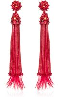 Oscar de la Renta Feather Beaded and Crystal Clip Earrings in Red - Lyst