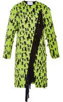 Osman Yousefzada Printed Sateen Tassel Coat in Lime Green - Lyst