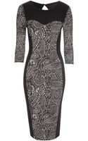 Jane Norman Textured Print Midi Dress - Lyst
