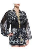 Camilla Skullprint Silk Short Jumpsuit - Lyst