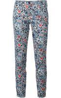 Tory Burch Flower Printed Slim Fit Trousers - Lyst