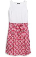 Tommy Hilfiger Printed Knit To Woven Dress - Lyst