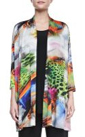 Caroline Rose Butterflyprint Knit Cardigan - Lyst