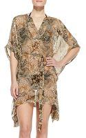 Diane Von Furstenberg Lima Animalprint Silk Coverup - Lyst