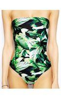 Asos Leaf Print Cut Out Bandeau Swimsuit - Lyst